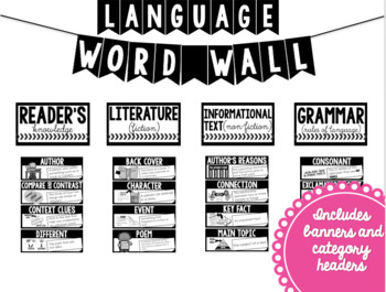ELA Word Wall *BLACK AND WHITE* (3rd Grade)
