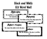 ELA Word Wall - Black & White