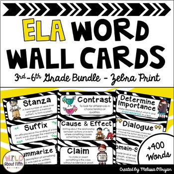 ELA Word Wall 3rd-6th grade BUNDLE - Editable - Zebra Print