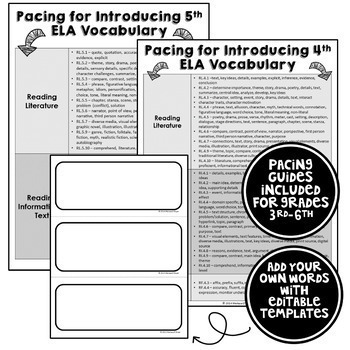 ELA Word Wall Editable - 3rd-6th grade BUNDLE - no backgrounds