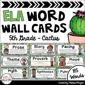 ELA Word Wall Editable - 5th Grade - Cactus