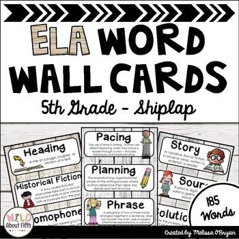 ELA Word Wall Editable - 5th Grade - Shiplap