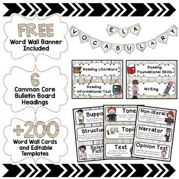 ELA Word Wall Editable - 6th Grade - Shiplap