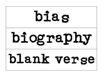 ELA Word Wall Vocabulary Cards