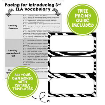 ELA Word Wall Vocabulary Cards - (3rd Grade - Zebra Print)