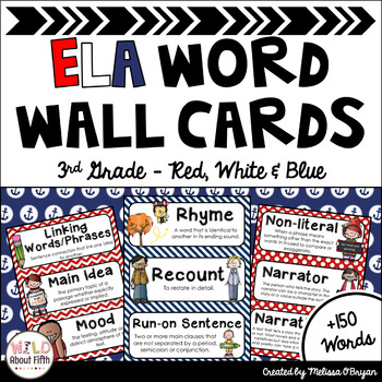 ELA Word Wall Vocabulary Cards - 3rd Grade - Nautical