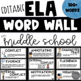 Editable ELA Word Wall for Middle School
