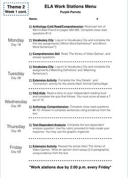 ELA Work Stations/Lit Centers Cover Sheet/Checklist