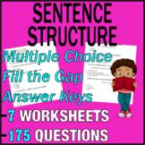 ELA Worksheets   Sentence Structure   Grammar Questions  