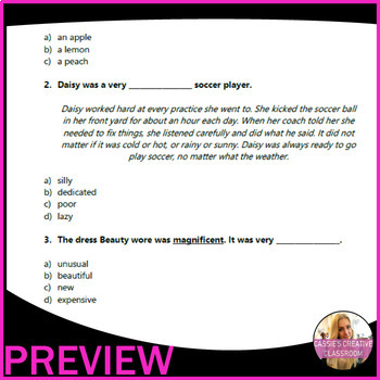 Vocabulary Worksheets | Context Clues and Antonyms |  ELA Assessments | Grade 3