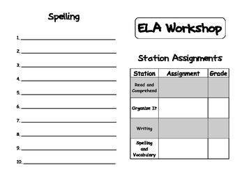 Language Arts Daily Centers Recording Booklet