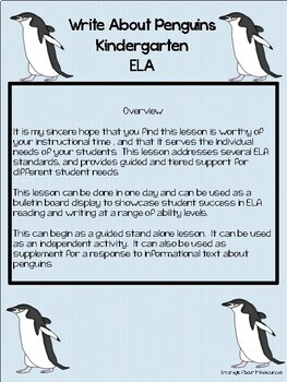 Writer's Workshop ELA Write About Penguins Kindergarten Standards Based Lesson