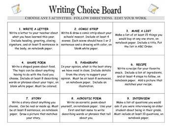 ELA Writing Choice Board