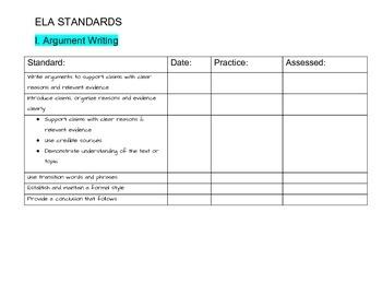 ELA: Writing: Grade 6 Common Core State Standards Checklist
