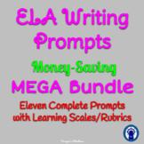 ELA Writing Prompts MEGA Bundle--11 Prompts with Rubrics/L