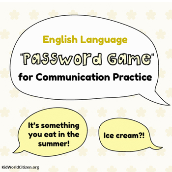 ELA and ESL Password Game for Communication Practice ~ in English