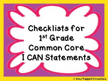 ELA and Math Common Core Checklists: First Grade I Can Statements