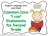 "ELA and Math Common Core ""I can"" Statements for Second Grade"