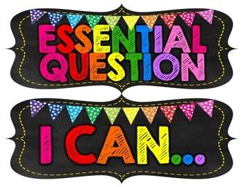 *Editable* ELA and Math Focus Wall Headers {Black and Brights Chalkboard Theme}