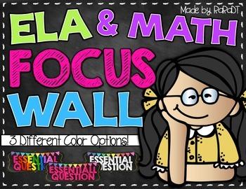 *Editable* ELA and Math Focus Wall Headers {Black and Brig
