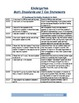 ELA and Math Kindergarten Standards and I Can Statements