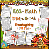 Literacy and Math Print and Go Pack Thanksgiving Activities (NO PREP)