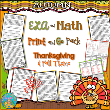 ELA and Math Print and Go Pack Thanksgiving and Fall Theme