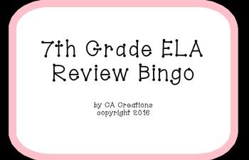 ELA and Reading Vocabulary Review Bingo (7th grade CCSS/Ge
