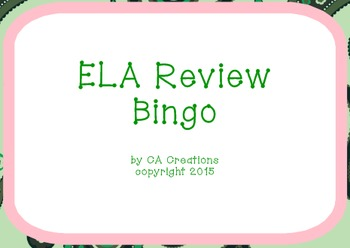 ELA and Reading Vocabulary Review Bingo (6th grade CCSS/Georgia Milestones)