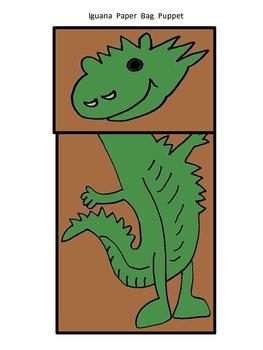 """SLA letter """"I"""" iguana Paper Bag Puppet"""