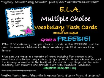 ELA multiple choice vocabulary task cards FREEBIE