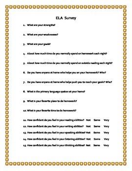 ELA survey (Pre and Post Course)