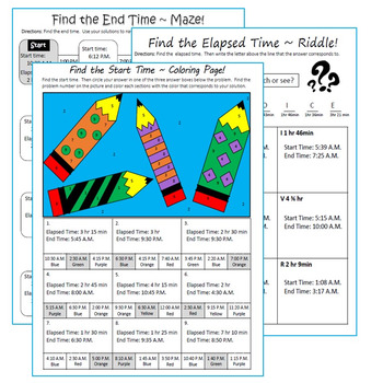 ELAPSED TIME Maze, Riddle & Coloring Page (FUN ACTIVITIES)