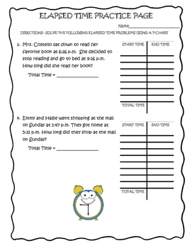 ELAPSED TIME USING A T-CHART
