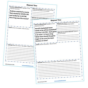 ELAPSED TIME Word Problems with Graphic Organizers
