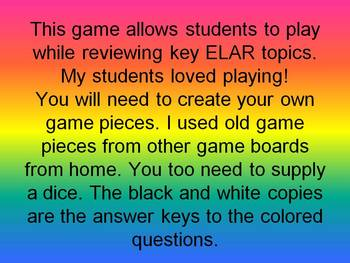Reading Board Game- Great for review & ELLs