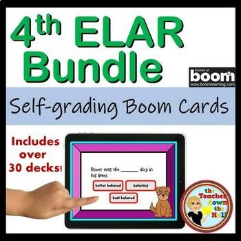 04 ELAR Boom Cards Growing Bundle - 4th