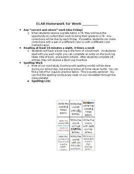 ELAR Homework EDITABLE
