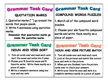 ELAR task cards-- Daily 5 Word work and Work on Writing Grades 2-5