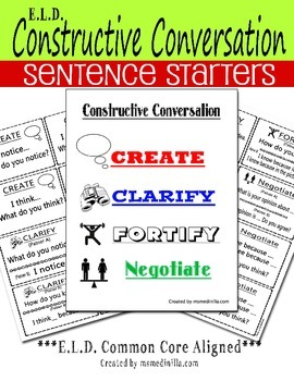 ELD Constructive Conversation Sentence Starters Common Cor