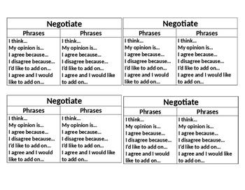ELD Smart Start Conversation Cards with Sentence Starters