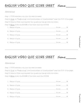 ELD Video Quiz Score Sheet