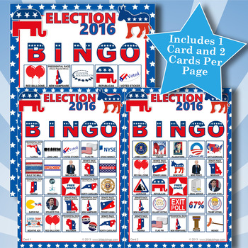 ELECTION 2016 5x5 BINGO 60 CARDS