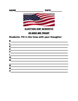 ELECTION DAY!  ACROSTIC ACTIVITY