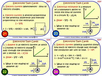 ELECTRICITY: ELECTROSTATICS, ELECTRIC CURRENT & CIRCUITS. 44 Task Cards w/Key.