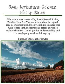 ELECTRONIC (Google Slides Version) Basic Agricultural Science Start Up Notebook