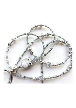 ELEGANT GREY OWL- Beaded Id Lanyard- Porcelain Owl, Pearls, and Silver Crystals
