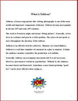 DRAMA LESSONS:  TABLEAU AND MOVEMENT WITH SUPER HEROES