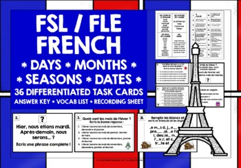 ELEMENTARY FRENCH DAYS DATES MONTHS SEASONS TASK CARDS
