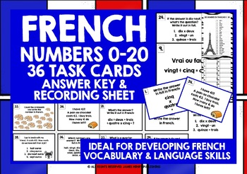 FRENCH NUMBERS 0-20 TASK CARDS